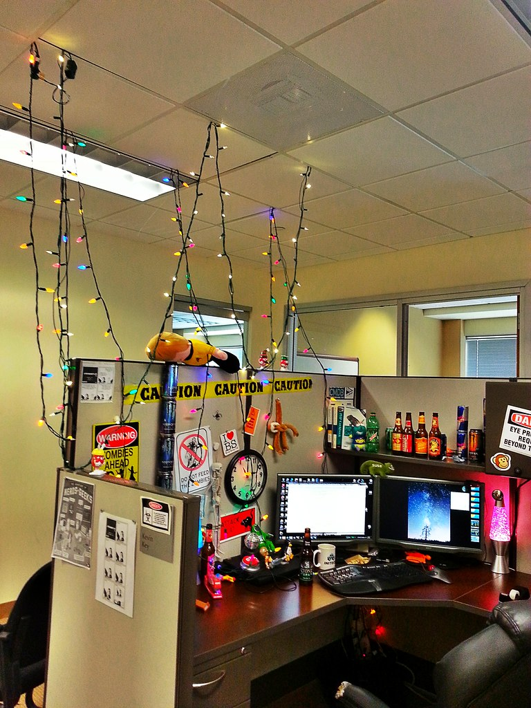office cubicle lighting. Put Up Christmas Lights In The Cubicle At Office. #cubicle #geek # Office Lighting O