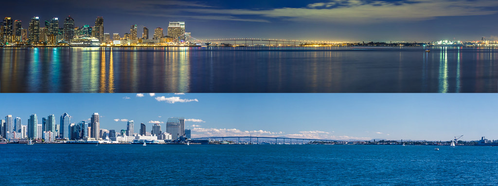 San Diego Skyline From Harbor Island Day And Night