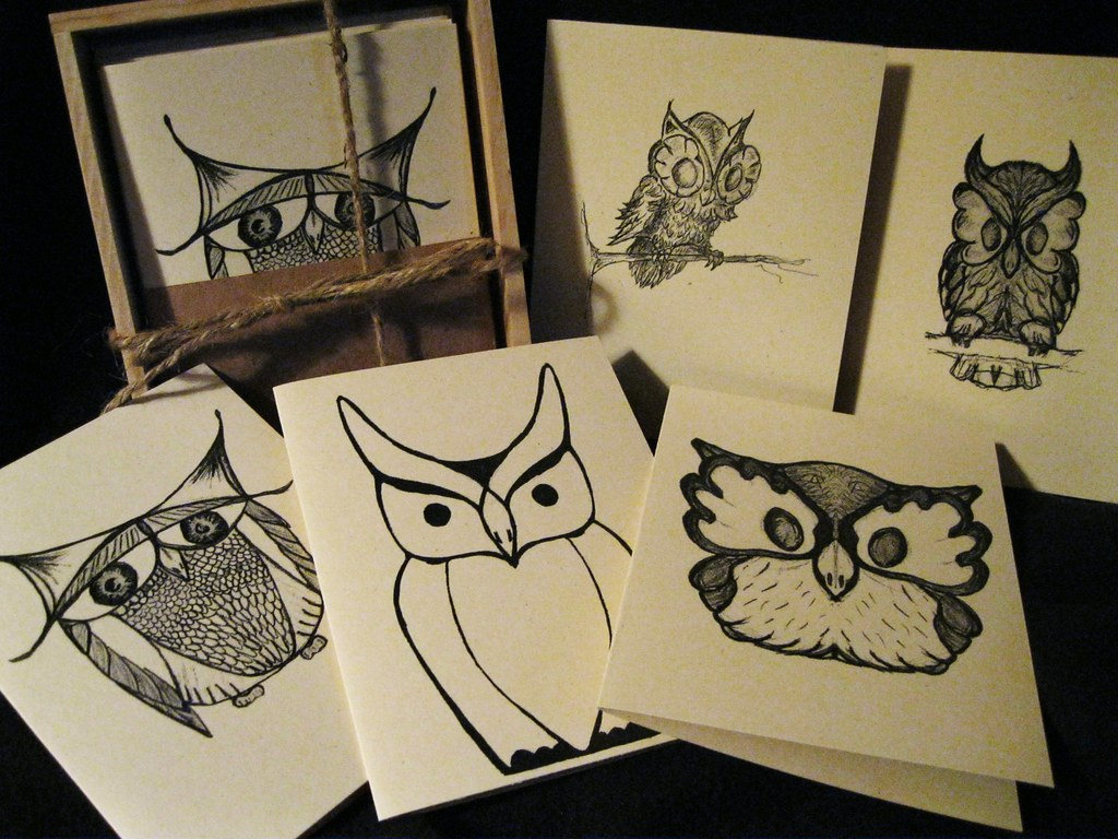 Owl cards a set of five owl greeting cards i made one old flickr owl cards by boxspring owl cards by boxspring m4hsunfo