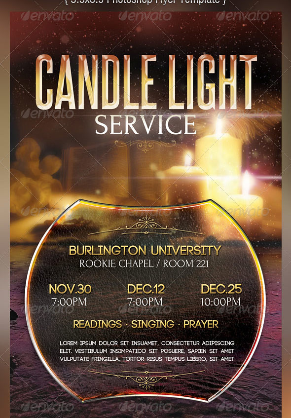 candle light service flyer templates