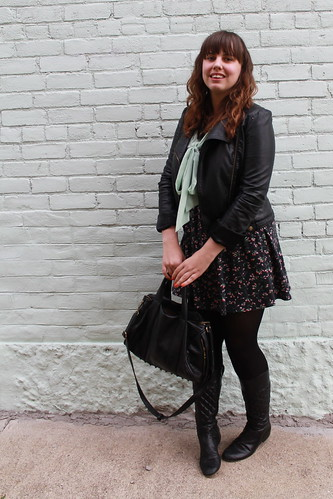 Rosemint outfit: black tights, black quilted boots, rosebud open-back dress, mint green sheer bow-tie blouse, studded-bottom bag, leather motorcycle jacket | by Célèste of Fashion is Evolution