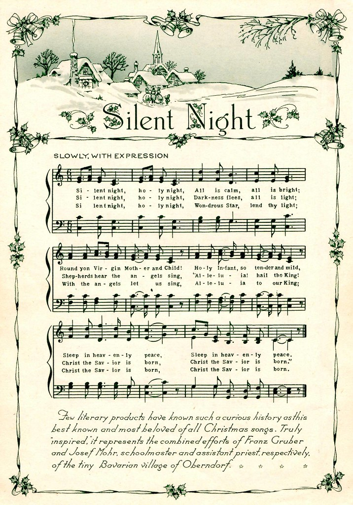 Vintage Silent Night Sheet Music Silent Night Vintage Song