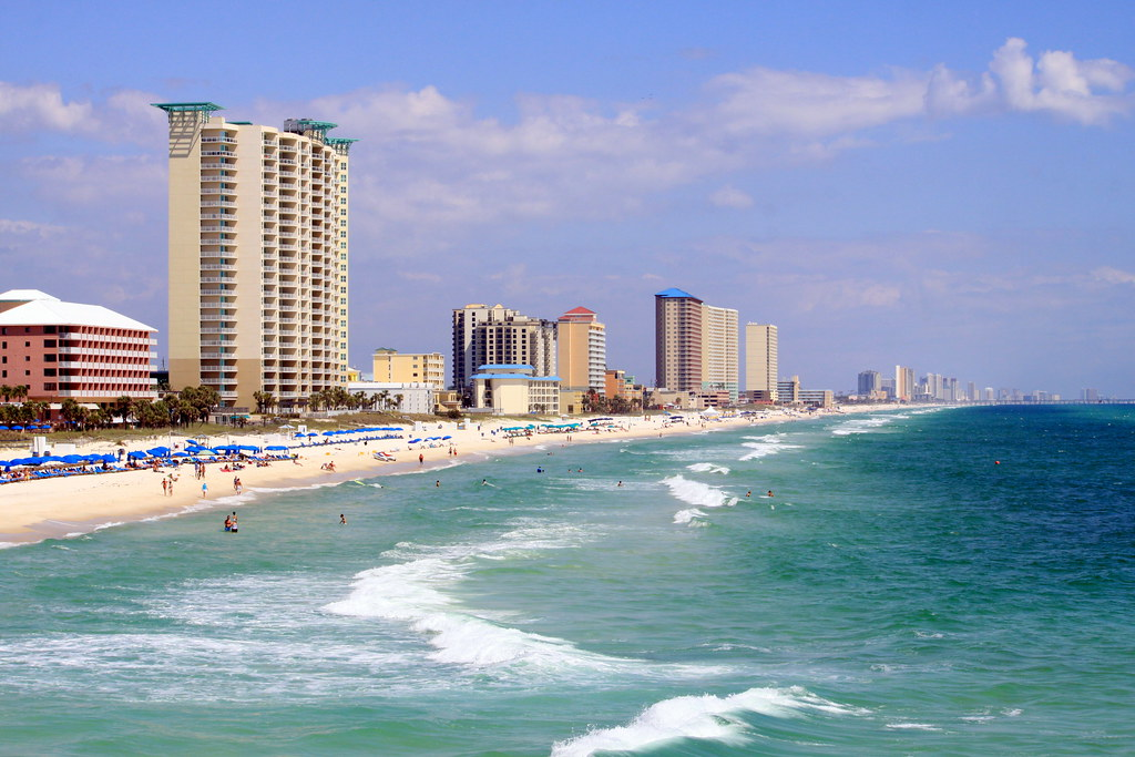 Panama city beach as seen from a fishing pier on a for Panama city beach pier fishing report