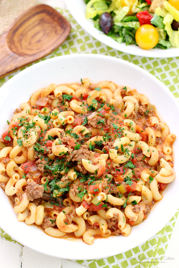 One Pot Goulash in a white bowl.