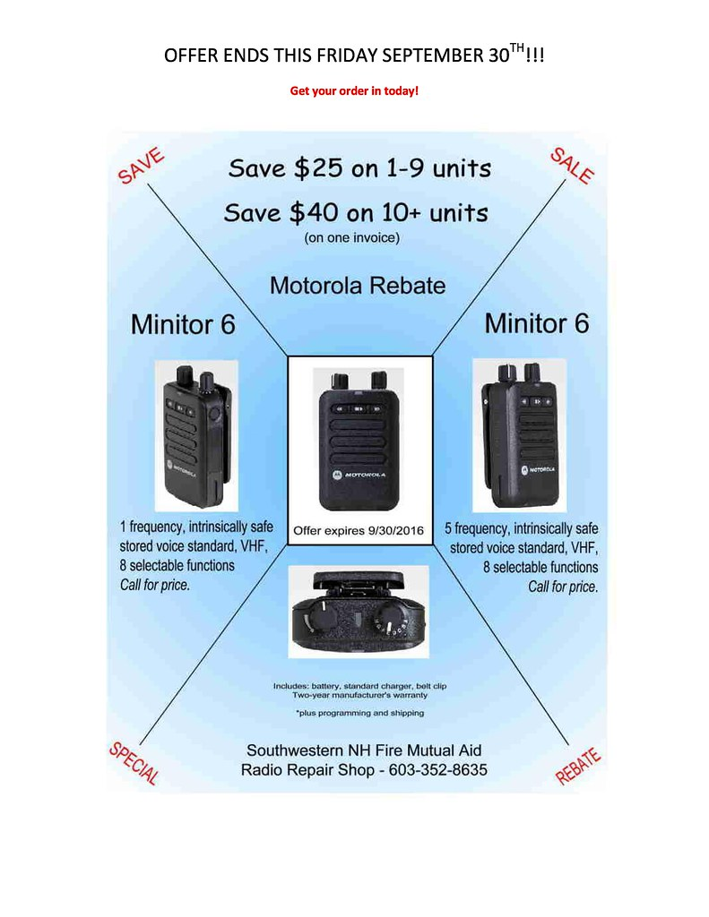 Minitor 6 pager sale ends this Friday 9-30 - NO PRICES-page-0