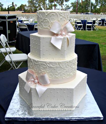 Elegant Ivory Buttercream Hexagon And Round Wedding Cake W