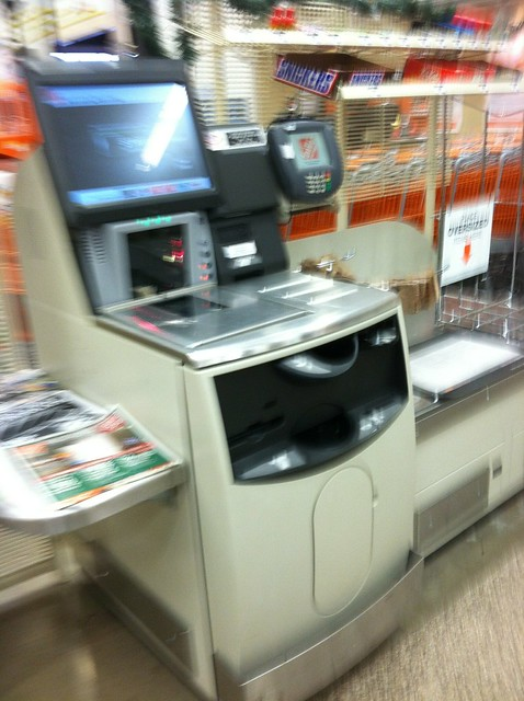 Blurry Pic Of The Home Depot Self Checkout Lanes