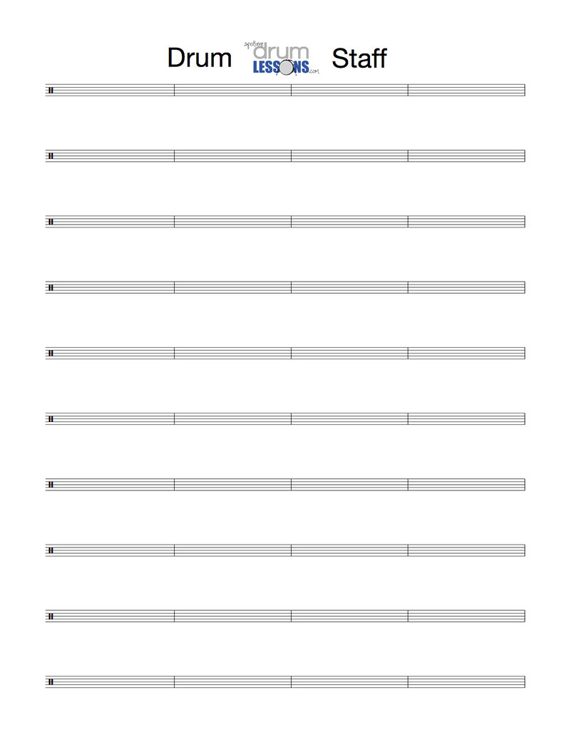 Drum Percussion Staff Paper Staff Paper for Drums and Pe – Sample Staff Paper