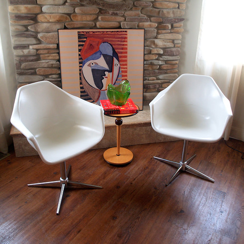 ... Pair VINTAGE MID CENTURY Modern Shell Armchairs Set Of 2 White  Fiberglass Arm Chairs Swivel Chrome