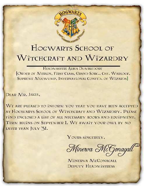 My Very Own Hogwarts Acceptance Letter