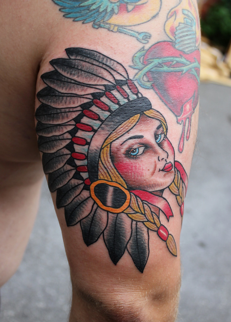 Blond indian girl native american tattoo myke chambers for Native american woman tattoo