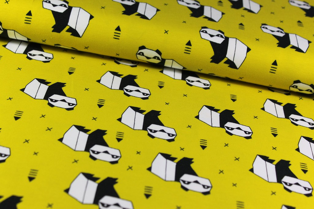 "Baumwoll-Jersey ""Origami Panda"", gelb"