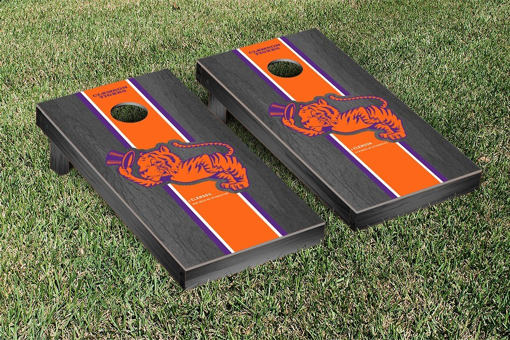 Clemson Tigers College Vault Cornhole Game Onyx Stained Stripe Version