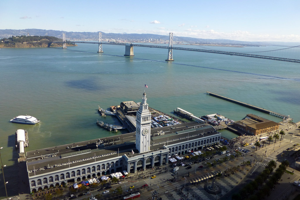 Ferry building and sf bay bridge from above san francisc for Sf bay fishing report