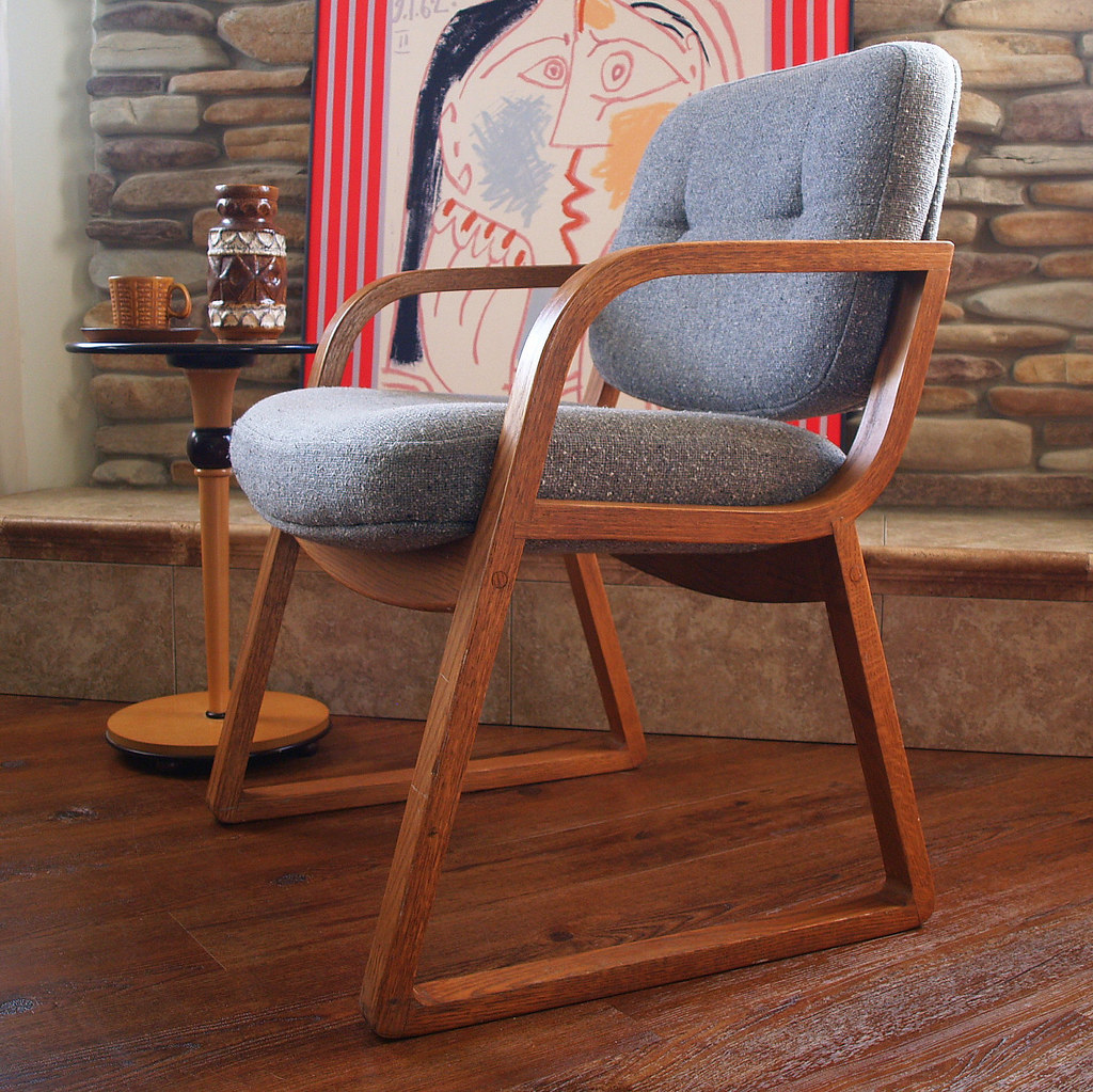 60s vintage danish modern chair hon grey wool oak wood mid century modern furniture office