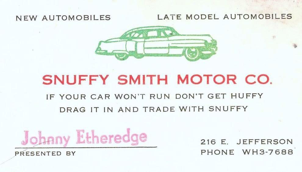 Snuffy Smith Motor Co Business Card 1950 39 S Dallas Texa
