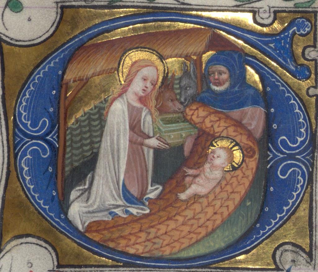 illuminated manuscript  book of hours in dutch  nativity
