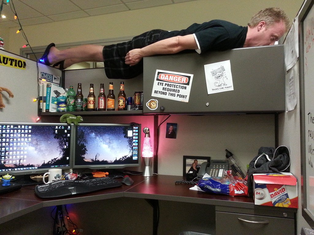 Planking on top of my cubicle at the office. | Planking at ...