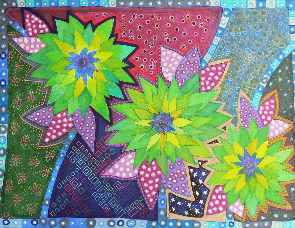 Flores Verdes Dibujo Original Angela Blanc Flickr