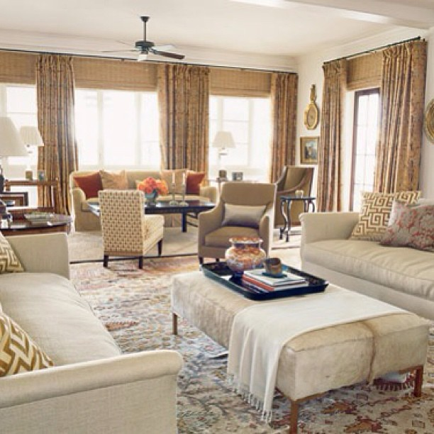 Big Family Living Room: Neutrals And Creating Two Sitting Areas In One Big Room