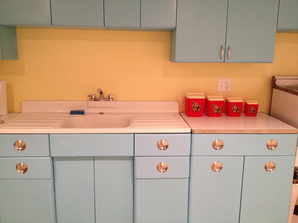 My Vintage Basement Kitchen | 1950's metal cabinets ...