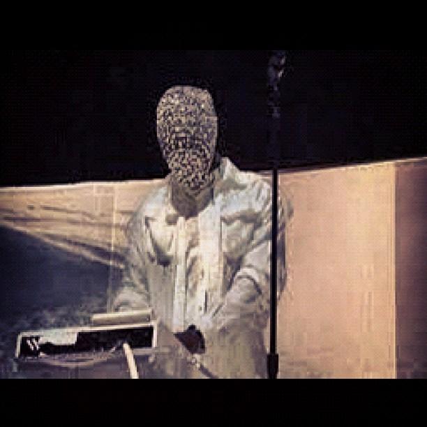kanye west wearing a crystal mask by maison martin margiel