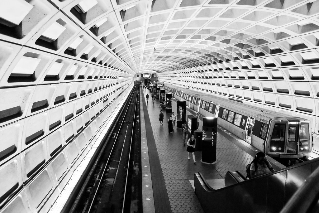 U St Metro in black and white