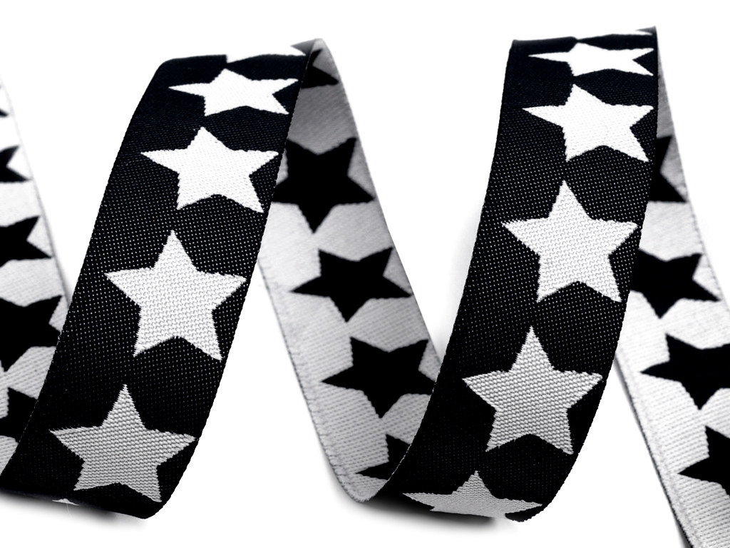 """Webband """"Sterne"""", schwarz-weiß"""