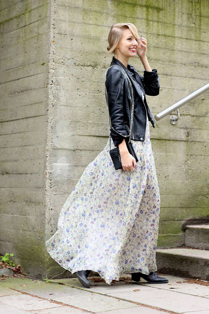 maxi dress with floral print inspiration street style fashion outfit summer autumn4
