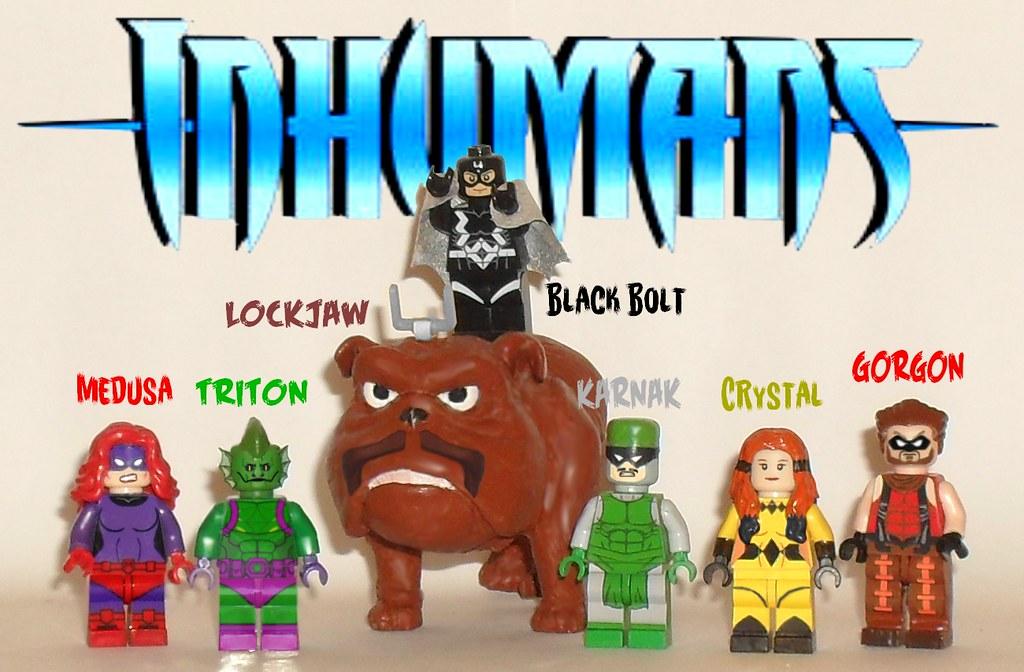 Inhumans Set of 5 Minifigs Black Bolt Medusa Crystal Building Toy Free Ship