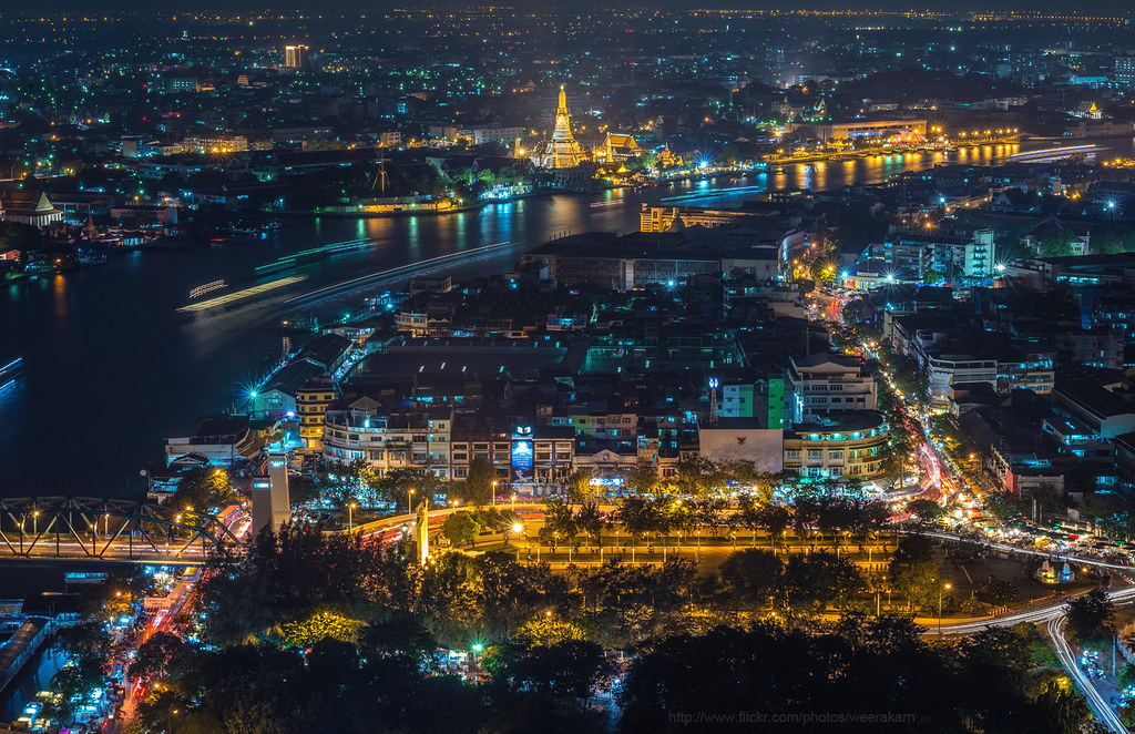 Bangkok Cityscape View Of Wat Arun And Chao Phraya River