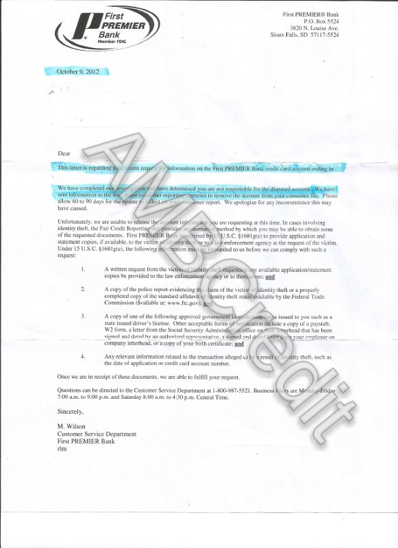Amb Credit Consultants First Premier Bank Deletion Letter Flickr