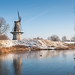 Dutch windmill in winter - Molen 'Nooit Gedagt' in Woudrichem