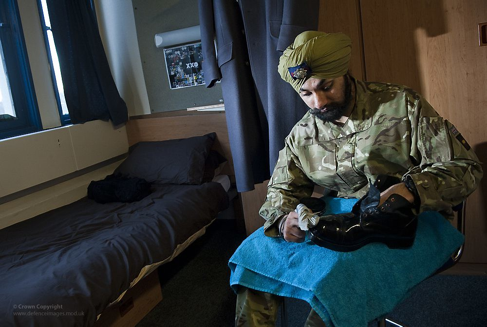 Scots Guards Soldier Wearing Sikh Turban Polishing His Boo