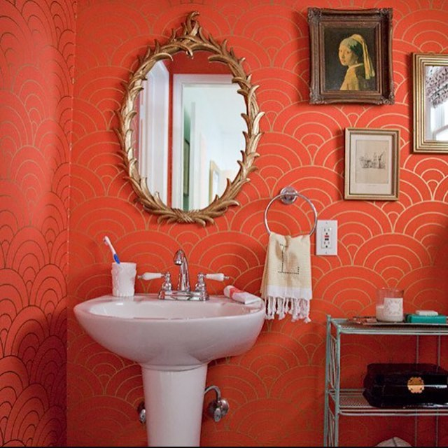 Currently fantasizing about doing the main bathroom in coral and gold, like this. Josh says NO. Sigh.