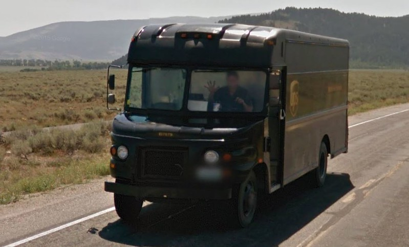 UPS Van on Google Street View on Teton Park Road in Grand Teton National Park , Wyoming