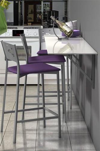 Mesa abatible de cocina single vulcano con cristal templa for Mesa cocina cristal blanco