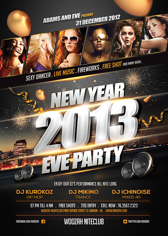 new year eve party flyer poster template a4 size bonus f flickr