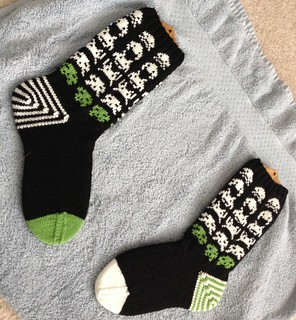 BMP space invaders hand knit socks | by mediaperuana