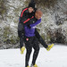 Andre Santos and Thierry Henry in the snow