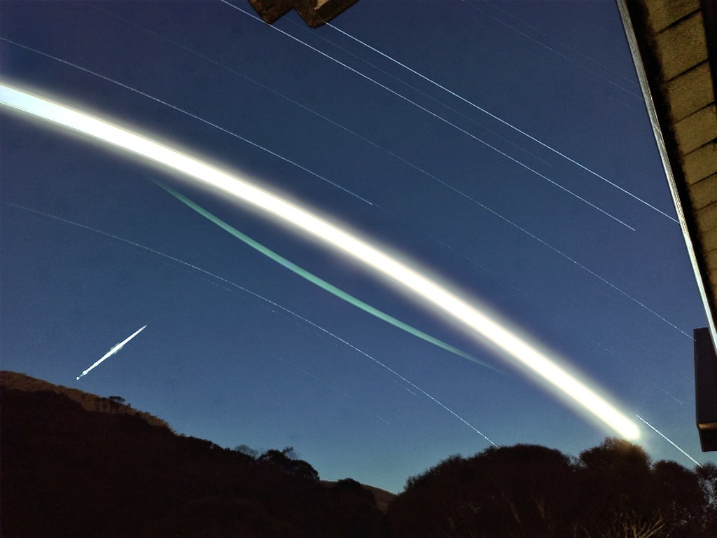 Satellite Flare Moon Trail And Star Trails Iphone Ultra