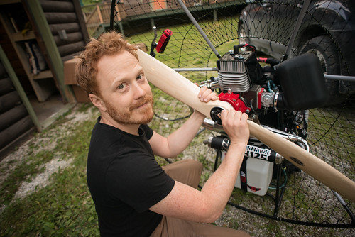 Tyler Affixing Propeller to His Blackhawk Paramotor | by goingslowly