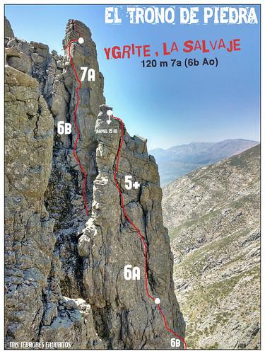 CROQUIS 2 - YGRITE LA SALVAJE - 120 m 7a ( 6b Ao ) - El TRONO DE PIEDRA - VILLAREJO