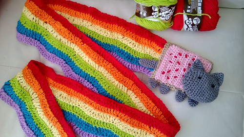 My Holiday time hacking - NyanCat crochet scarf | by GirlieMac