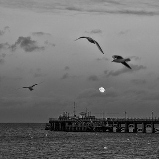 Full moon over Swanage Pier | by Alan Frost LRPS