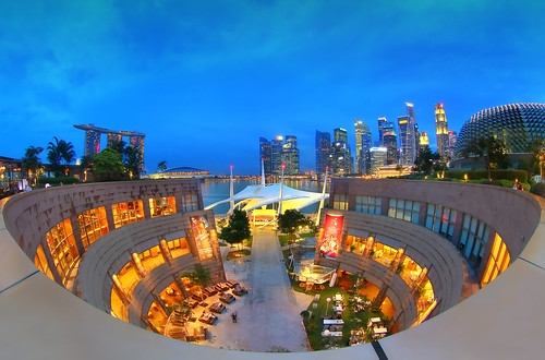 Roof top fisheye view at the Esplanade | by erwinsoo