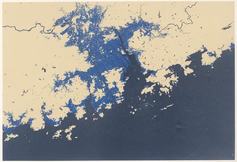 pearl river delta region - showing 5 metre sea level rise