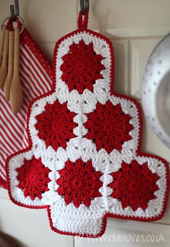Crochet Granny Square Christmas Pot Holder Tutorial On