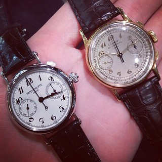Stopped by @betteridge1897 in Greenwich today and saw two incredible pieces. 5959p split and a Cartier signed 130. Crazy stuff. | by HODINKEE