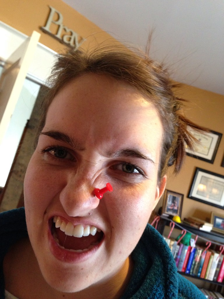 A hole holder | She misplaced her nose ring, so she's ...